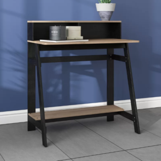 Contemporary black writing desk with built-in hatch design and manufactured wood materials.
