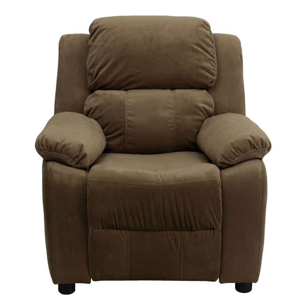 Contemporary brown kids recliner with plush padding comfort and flip-up storage arms.