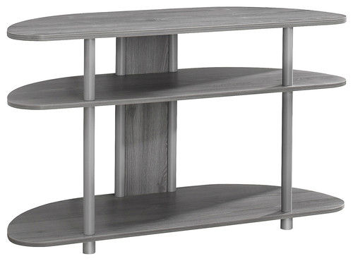 Contemporary grey and silver TV stand with wide-space shelving.