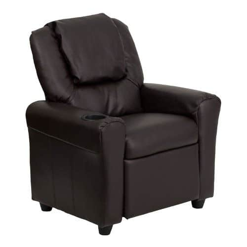 Large contemporary brown leather kids recliner with oversized headrest and cupholder in armrest.