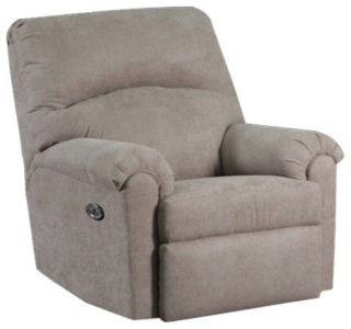 Contemporary power rocker recliner with fabric upholstery and foam seating.