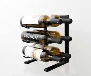 Contemporary wine rack with satin black finish and simple assembly required.