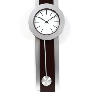 Contemporary wall clock with merlot cherry finish and Quarts battery operated movement.