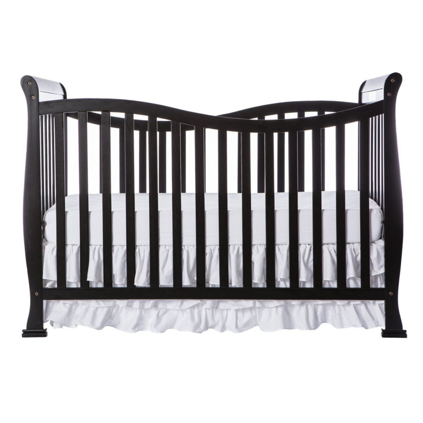 Convertible life style crib with black finish and full size rail.