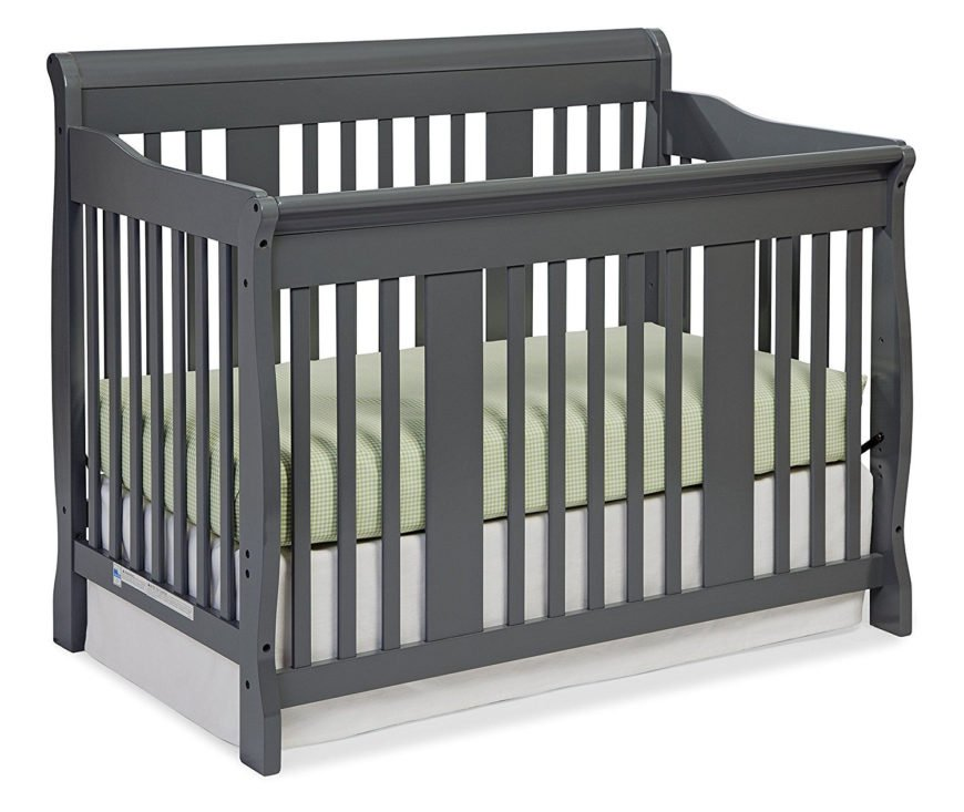 Convertible crib with gray finish and stationary four sides.