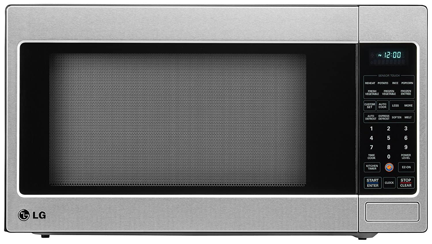 Large stainless microwave oven with counter top and child lock features along with sensor cooking technology.