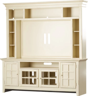 TV Stand and cabinet with built-in lighting and cream finish.
