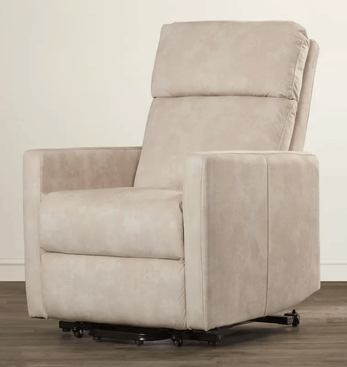Cream large recliner chair with lift assist motion type and polyester seat fill material.