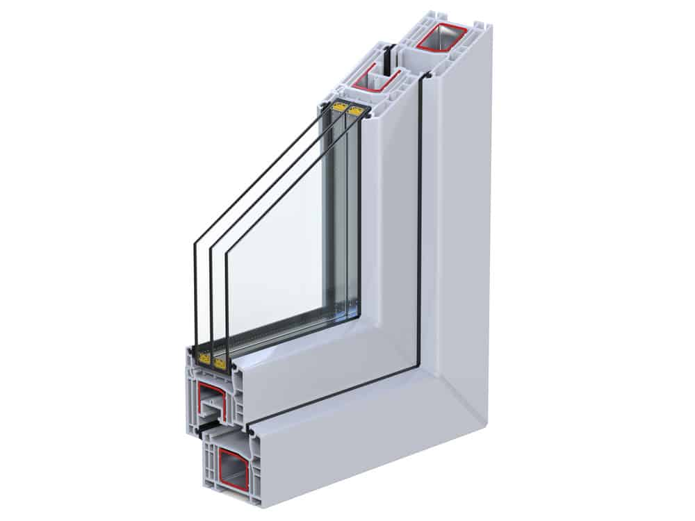 Triple pane window cross section