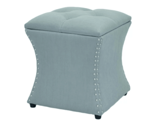 Ocean-colored ottoman with polyester blend and nailhead trim design.