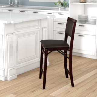 Bar stool with full back seat type and espresso base finish.