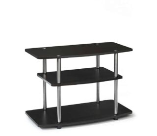 Contemporary TV stand with dark espresso finish and laminated board.
