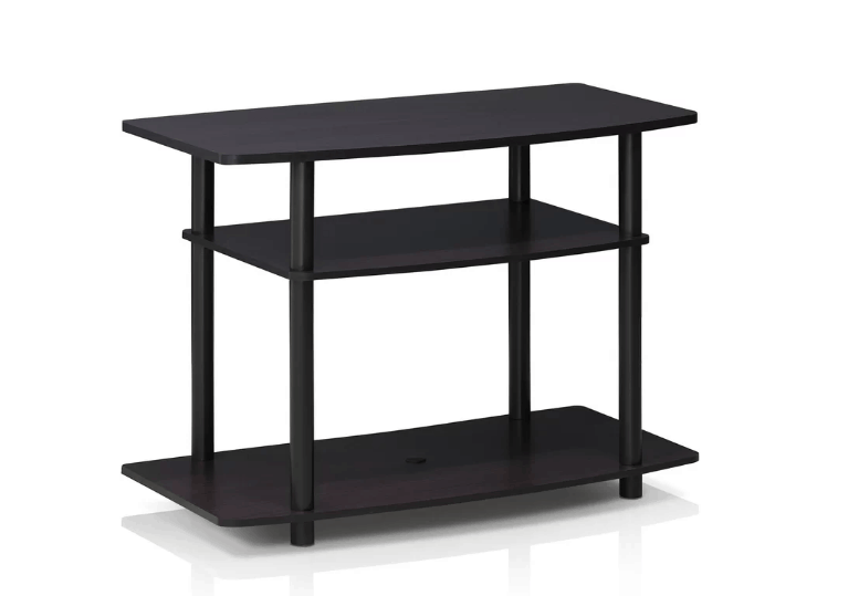 Contemporary dark wallnut TV stand with open shelving