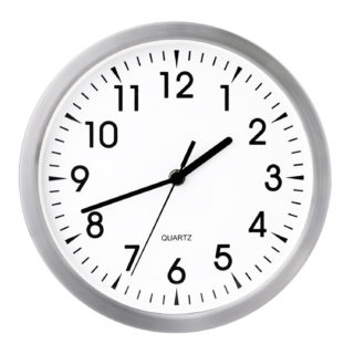 Decorative silent wall clock with classic white face and silver case.