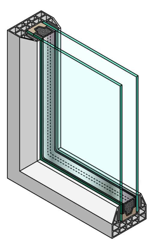 double pane window cross-section illustration