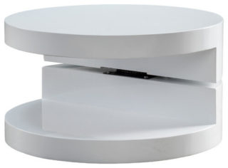 Modern, clear-cut coffee table with soft, round edges.
