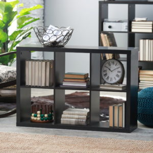 Modern 6-cube bookcase in espresso finish with interior honeycomb construction.