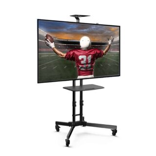 Mobile TV stand cart with built-in cable management system and adjustable screen height.