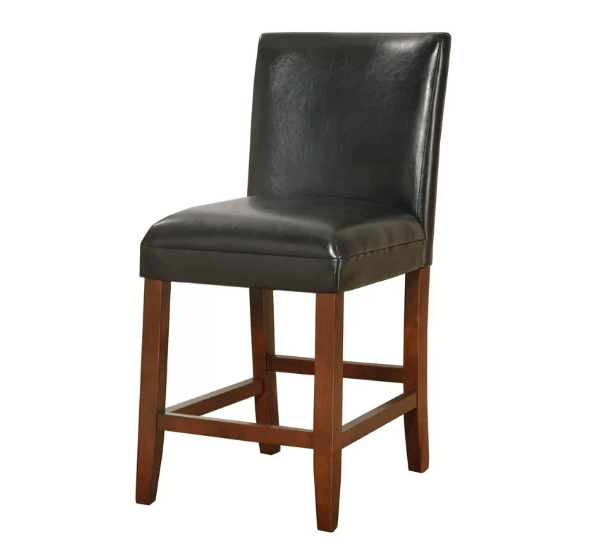 Black upholstery bar stool with light cherry wood finish and full back rest.