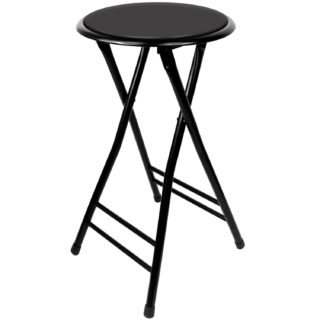 Black folding stool with cushioned seating and spring action secure lock.