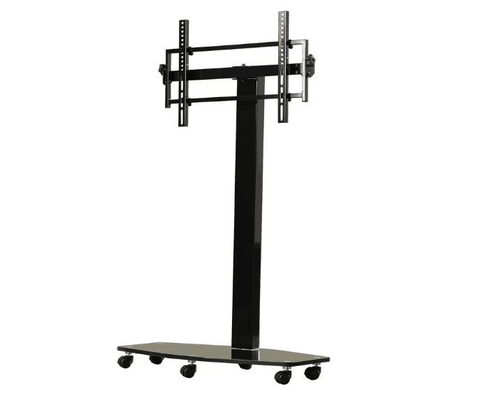 Glossy metal black TV stand with smooth mobility function and open shelving.