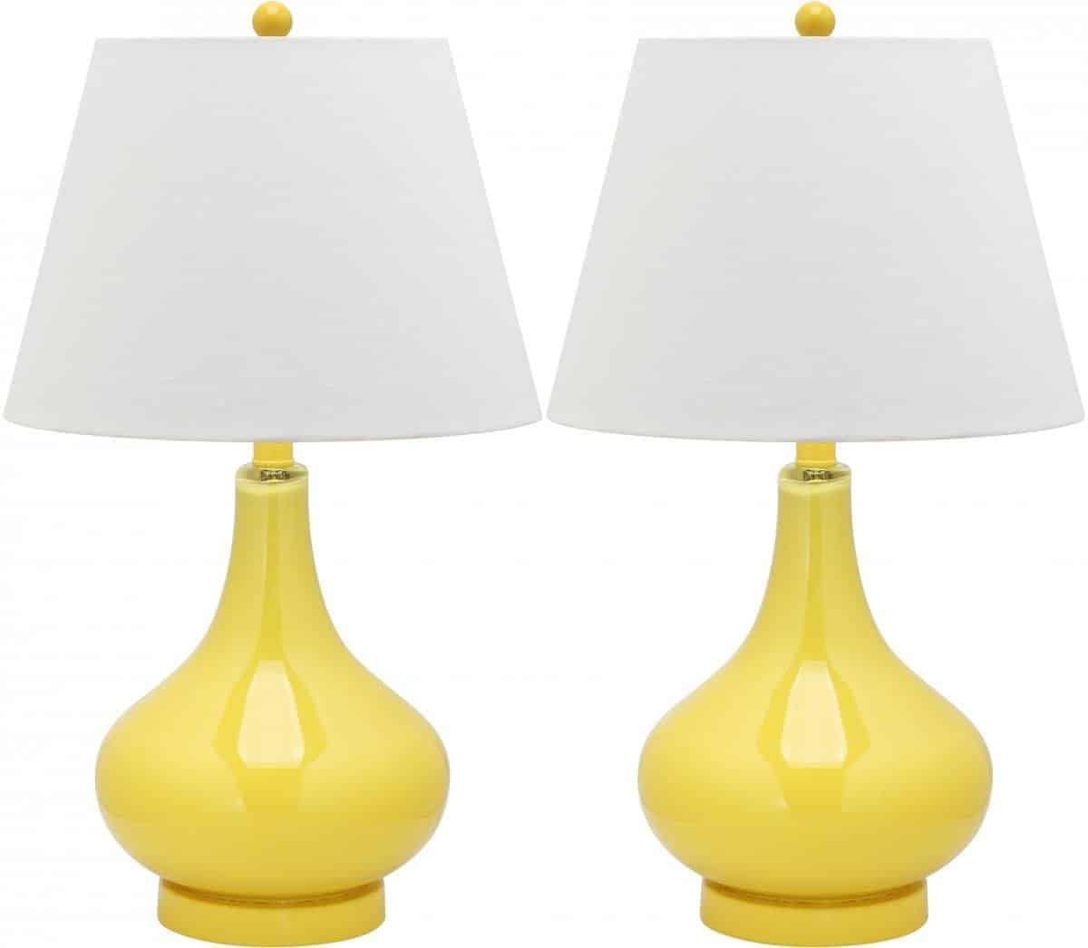 Glass Double Gourd Table Lamp With Yellow Base And White Cotton Lamp Shade.
