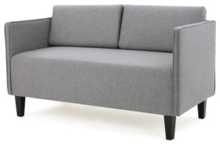 A mid-century type of loveseat in a sleek finish that combines comfort and style.