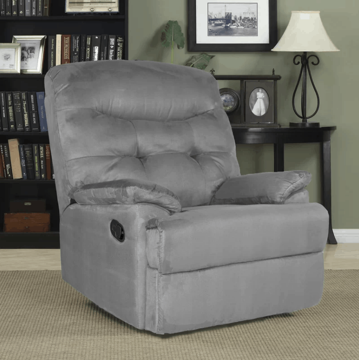 Gray manual wall hugger recliner with microfiber upholstery and 3-position type.