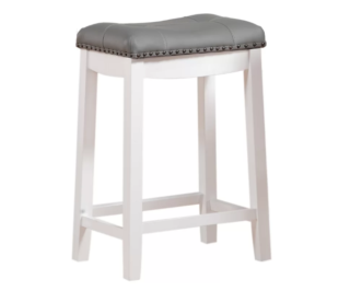 Gray upholstery bar stool with saddle seat and rubber wood built.