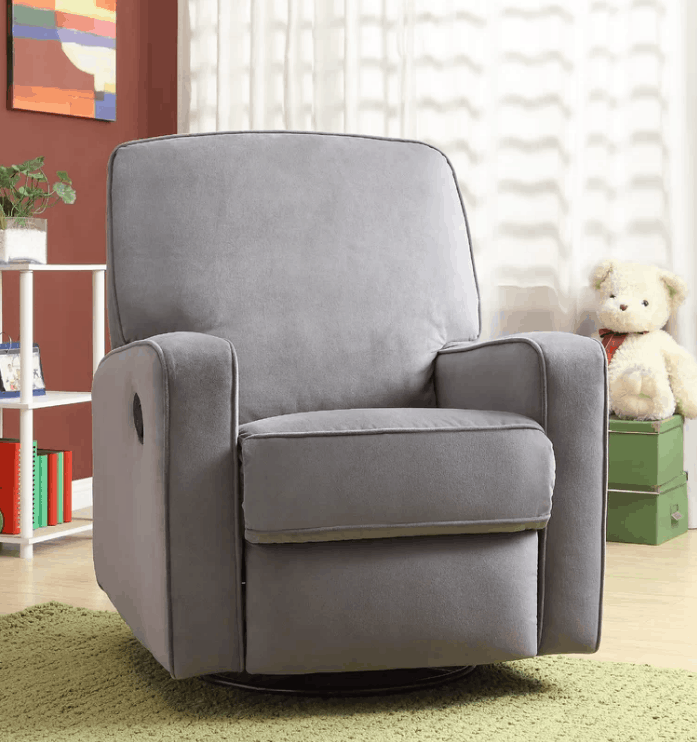 Swivel reclining glider with steel frame and soft foam with polyester seat cushion fill.