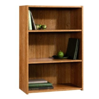 3 shelf bookcase in highland oak finish with patented and slide-on moldings.