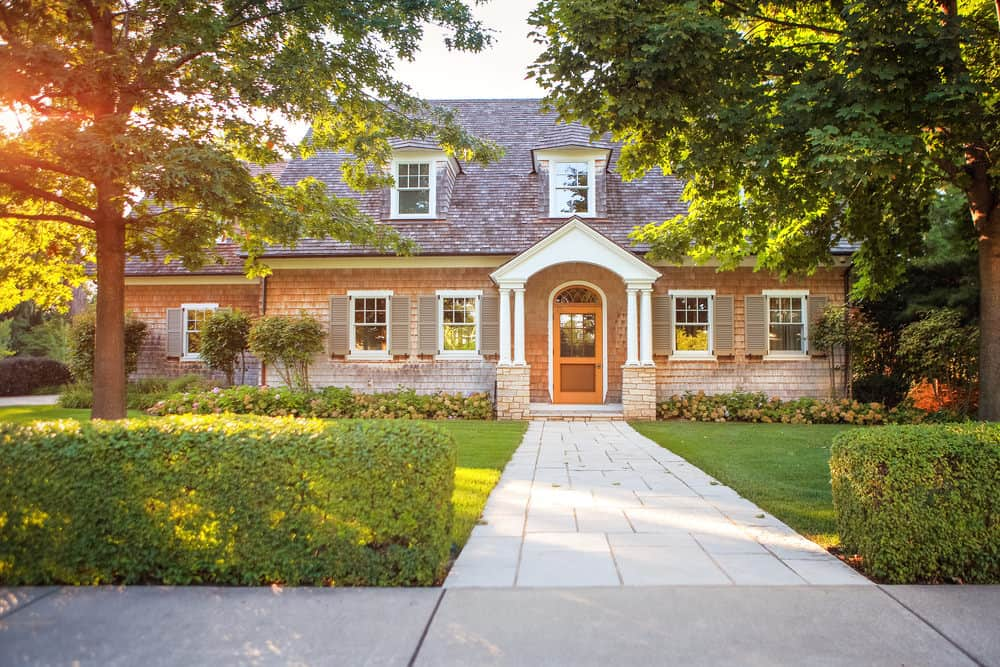 Nice home with front yard walkway