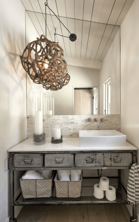 Industrial bathroom with white walls and shed ceiling together with glamorous pendant lights and vessel sink & Transitional Home Decor Ideas Style Guide for 2018