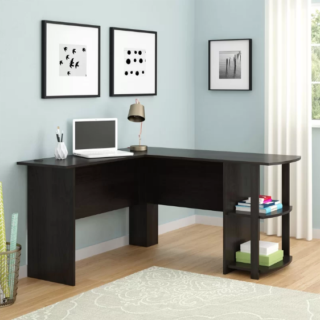 L-shaped corner desk with dark russet cherry finish and two open-frame shelves.