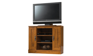 Abbey oak finish TV stand with two storage and adjustable shelves.