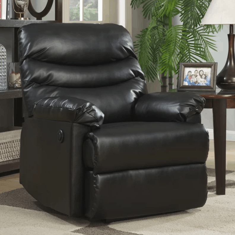Large black recliner with power motion 140-degree recline angle.