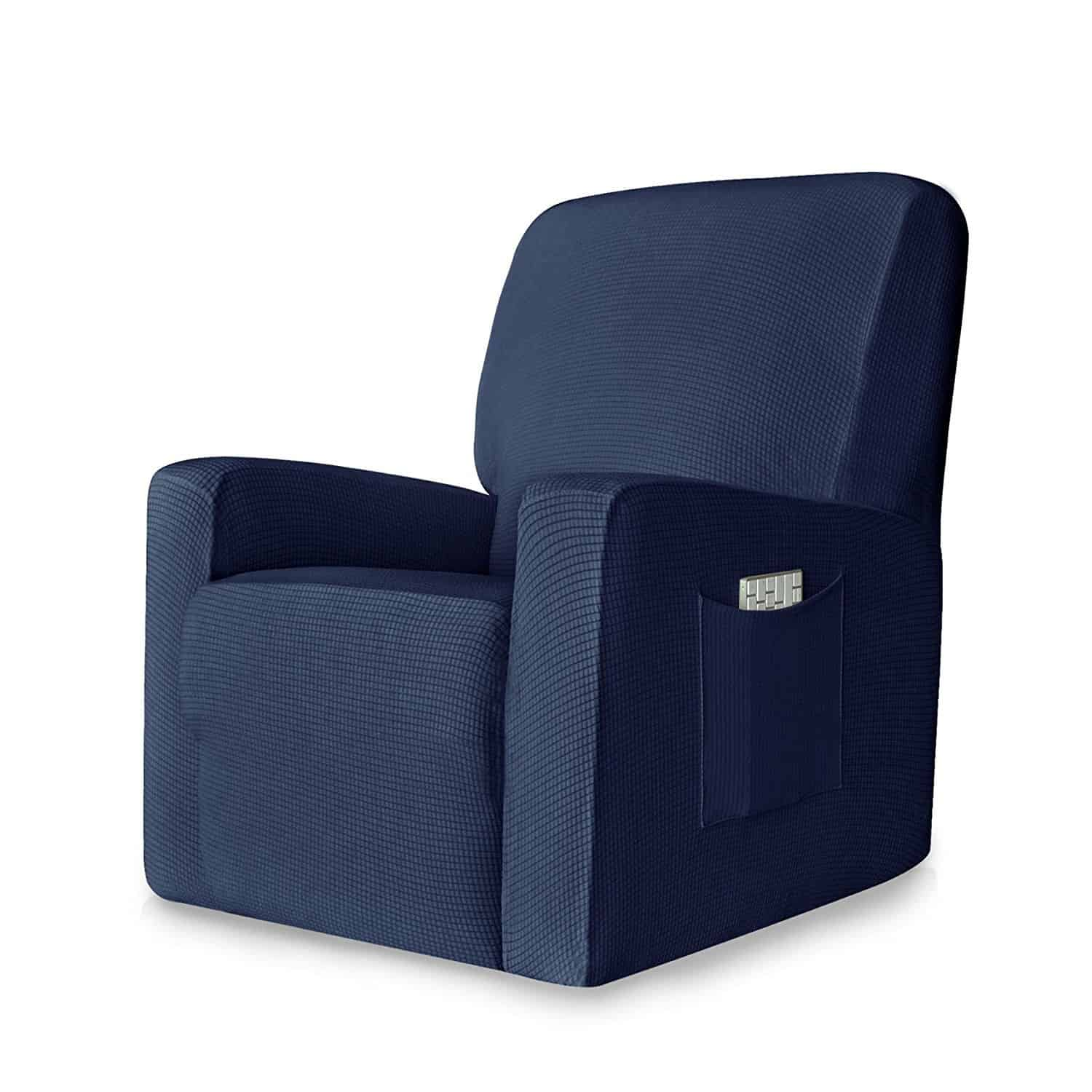 Large blue recliner chair with adjustable function and free sofa covers.