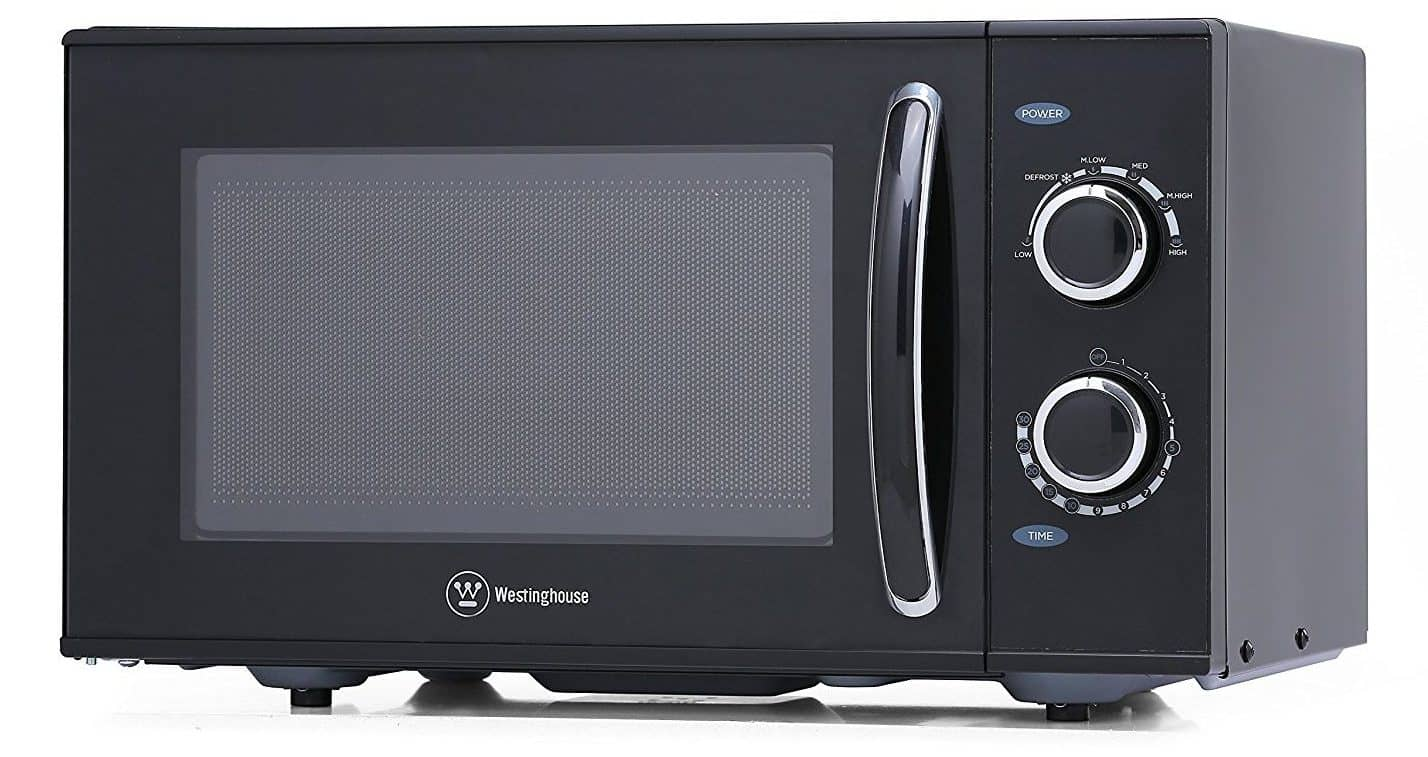 Large black rotary microwave oven with 6 cooking power levels and a 30 minute timer.