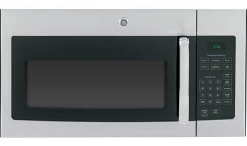 Large over the range microwave oven with auto and time defrost in stainless steel finish.
