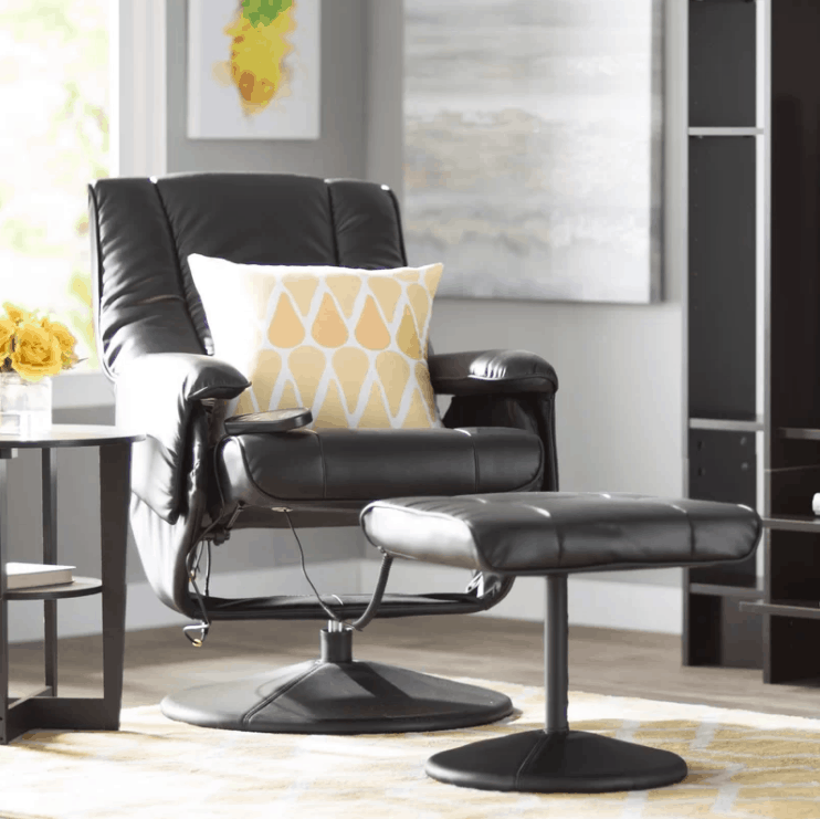 Large reclining massage chair with vibration and heating system along with faux leather upholstery and foam cushion fill seat.