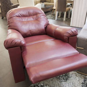 Large red leather recliner chair
