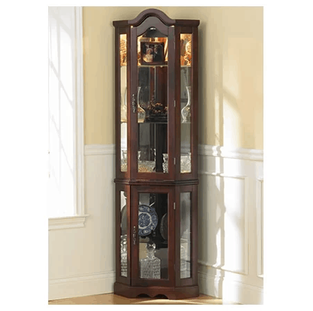 Glacier lighted corner curio cabinet with mahogany finish and glass shelf material.
