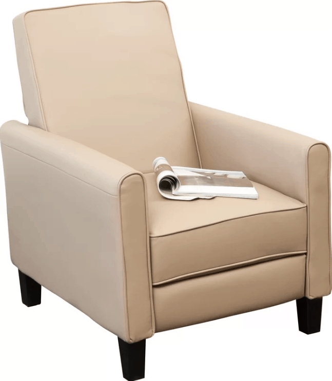 Large club recliner with 3 position types and manual push-back feature.