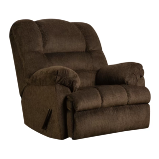 Mocha rocker recliner with 3 position type and synthetic fiber foam seat material.