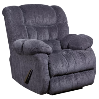 Indigo blue standard rocker recliner with microfiber upholstery material and foam seat.