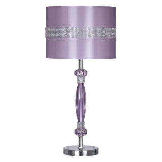 Metallic table lamp with matching drum fabric and purple finish.