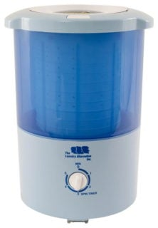 Mini countertop spin dryer with blue and white color and contemporary design.