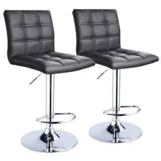 Modern swivel bar stool with chrome base and air-lift handle.