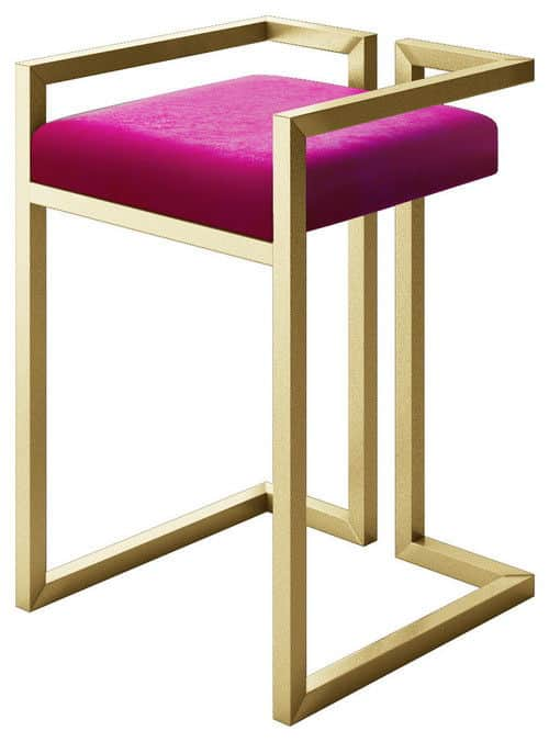 Modern small stool with gold metal frame and pink velvet upholstery.