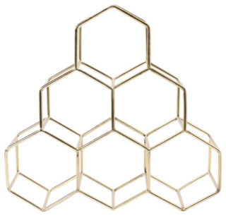 Modern countertop wine rack with pyramid design and metallic honeycomb finish.